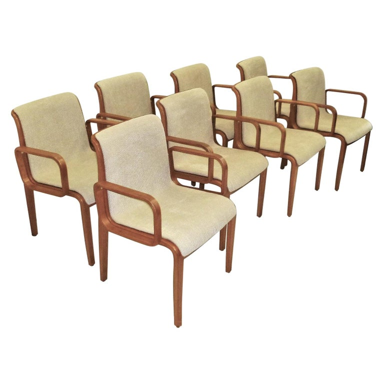 8 Bill Stephens Midcentury 1300 Series Armed Dining Chairs for Knoll For Sale