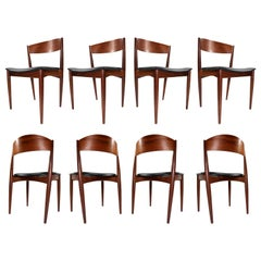 8 Bowed Back Jydsk Møbelindustri Skanderborg Danish Teak Dining Chairs