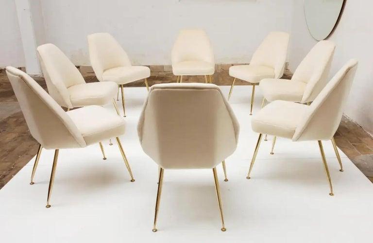 8 Brass Leg Chairs by Pagani,Partner of Gio Ponti & Lina Bo Bardi, 1952, Arflex For Sale 3