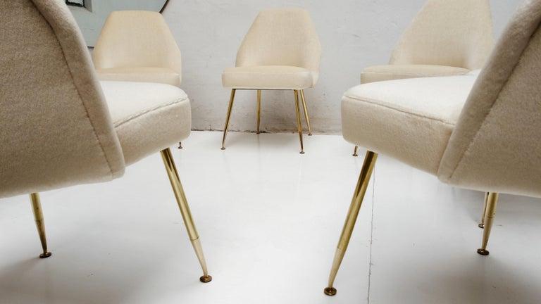 8 Brass Leg Chairs by Pagani,Partner of Gio Ponti & Lina Bo Bardi, 1952, Arflex For Sale 4