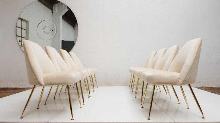 8 Brass Leg Chairs by Pagani,Partner of Gio Ponti & Lina Bo Bardi, 1952, Arflex For Sale 5