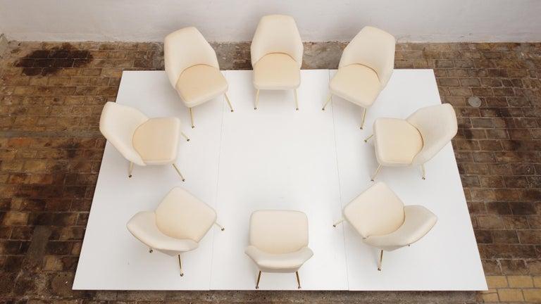 8 Brass Leg Chairs by Pagani,Partner of Gio Ponti & Lina Bo Bardi, 1952, Arflex For Sale 6