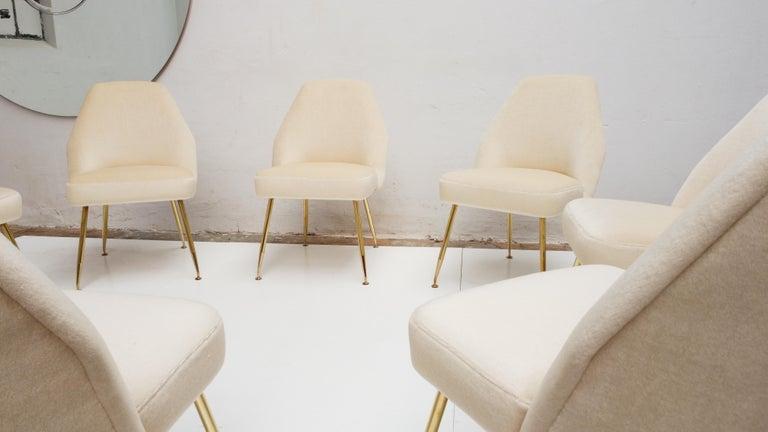 8 Brass Leg Chairs by Pagani,Partner of Gio Ponti & Lina Bo Bardi, 1952, Arflex For Sale 7