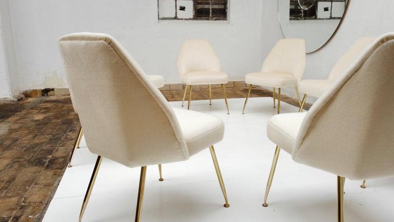 8 Brass Leg Chairs by Pagani,Partner of Gio Ponti & Lina Bo Bardi, 1952, Arflex For Sale 8