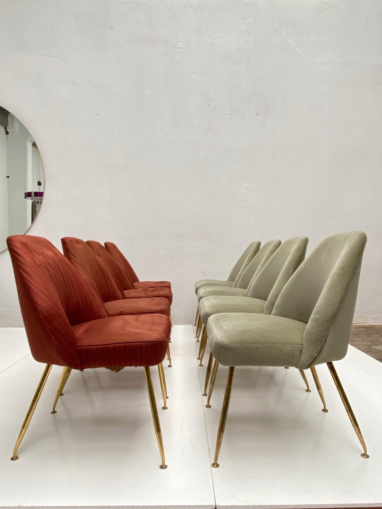8 Brass Leg Chairs by Pagani,Partner of Gio Ponti & Lina Bo Bardi, 1952, Arflex For Sale 9