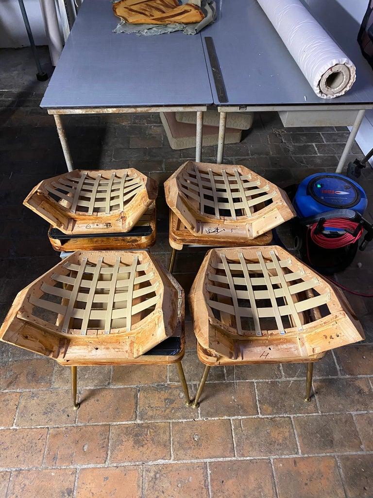 8 Brass Leg Chairs by Pagani,Partner of Gio Ponti & Lina Bo Bardi, 1952, Arflex For Sale 11
