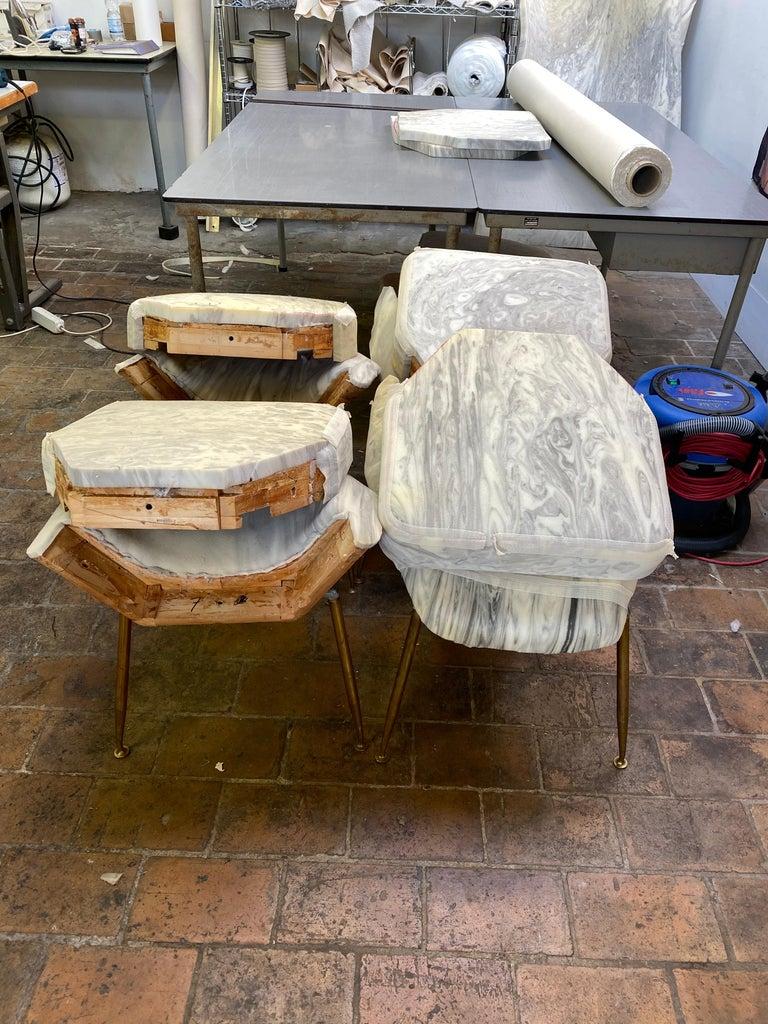 8 Brass Leg Chairs by Pagani,Partner of Gio Ponti & Lina Bo Bardi, 1952, Arflex For Sale 12
