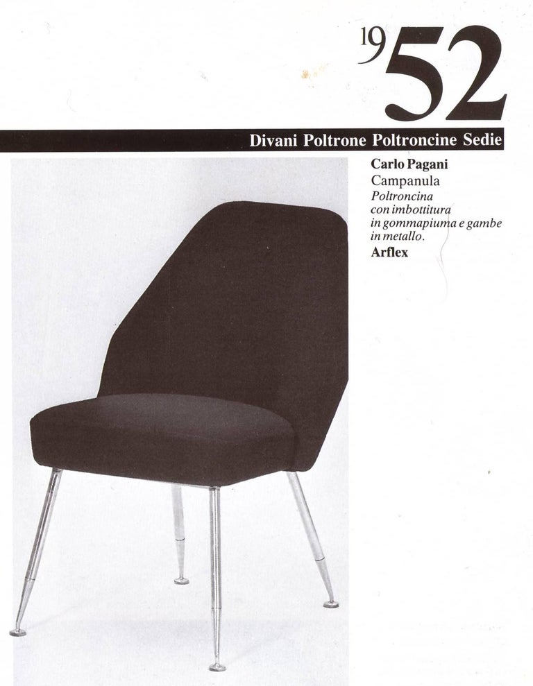 Mid-Century Modern 8 Brass Leg Chairs by Pagani,Partner of Gio Ponti & Lina Bo Bardi, 1952, Arflex For Sale