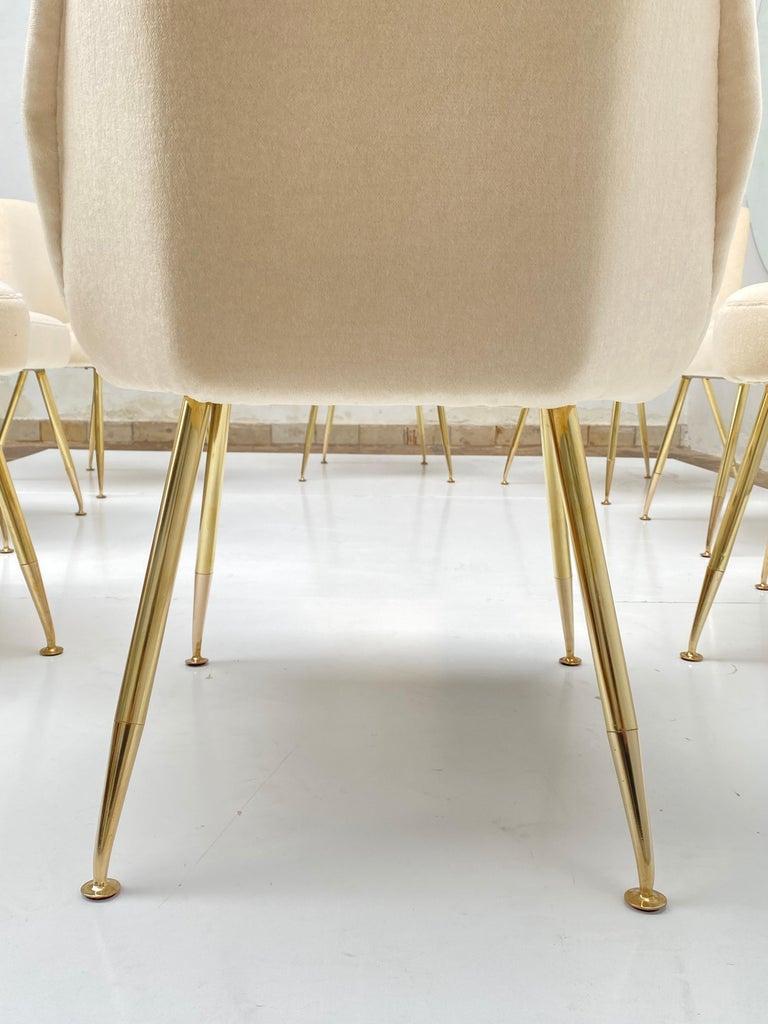 Italian 8 Brass Leg Chairs by Pagani,Partner of Gio Ponti & Lina Bo Bardi, 1952, Arflex For Sale