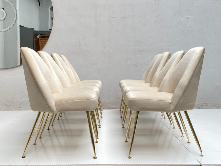Hand-Crafted 8 Brass Leg Chairs by Pagani,Partner of Gio Ponti & Lina Bo Bardi, 1952, Arflex For Sale