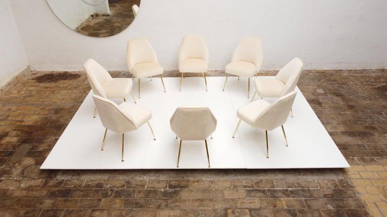 Mid-20th Century 8 Brass Leg Chairs by Pagani,Partner of Gio Ponti & Lina Bo Bardi, 1952, Arflex For Sale