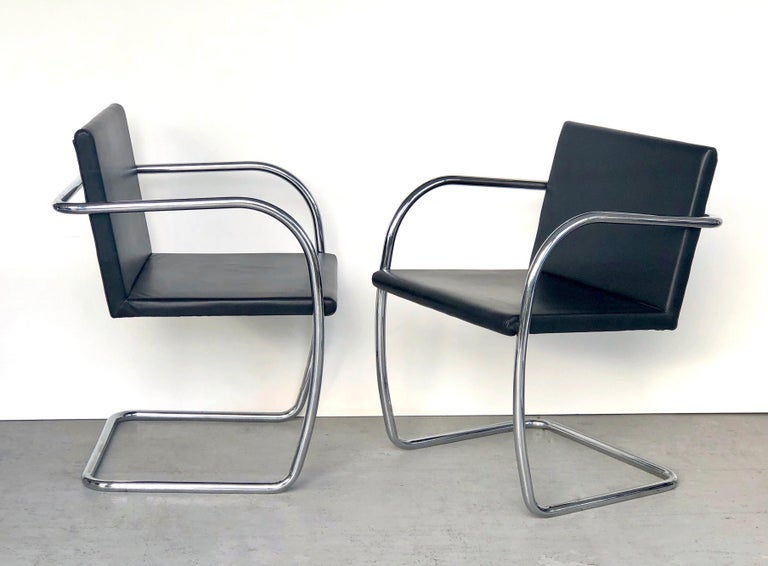 8 Brno Knoll Thin Pad Tubular Black Leather Chairs, 1970s For Sale 5