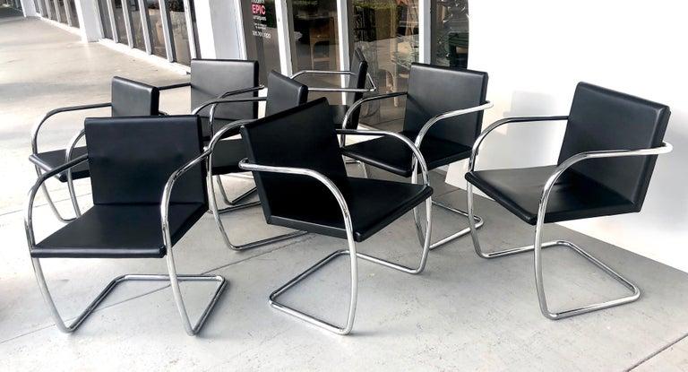 Italian 8 Brno Knoll Thin Pad Tubular Black Leather Chairs, 1970s For Sale