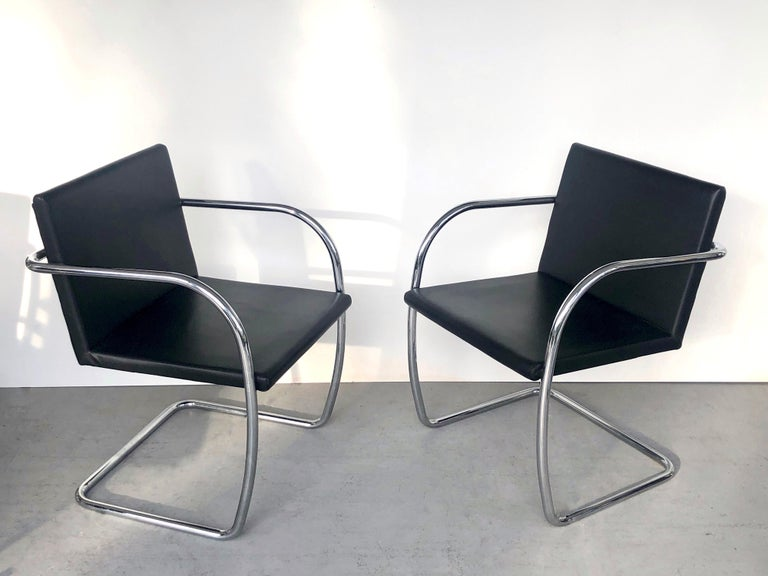 8 Brno Knoll Thin Pad Tubular Black Leather Chairs, 1970s In Good Condition For Sale In Miami, FL