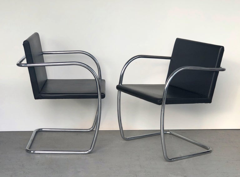 Late 20th Century 8 Brno Knoll Thin Pad Tubular Black Leather Chairs, 1970s For Sale