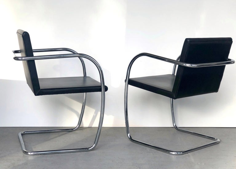 8 Brno Knoll Thin Pad Tubular Black Leather Chairs, 1970s For Sale 2