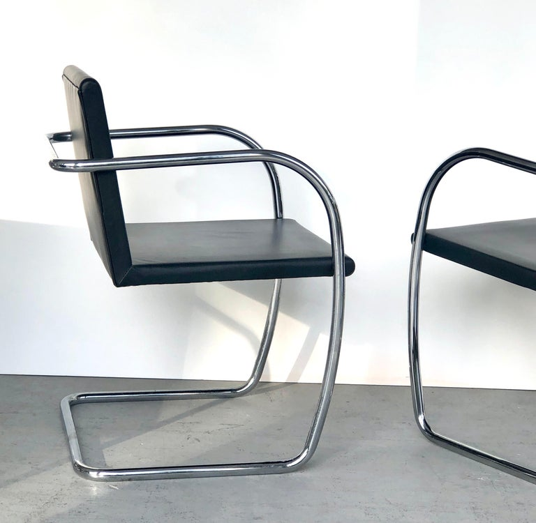 8 Brno Knoll Thin Pad Tubular Black Leather Chairs, 1970s For Sale 3