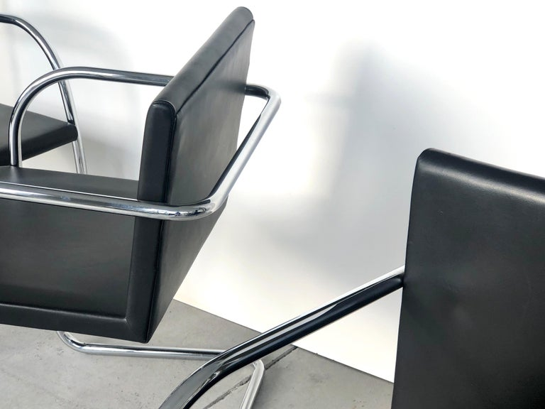 8 Brno Knoll Thin Pad Tubular Black Leather Chairs, 1970s For Sale 4