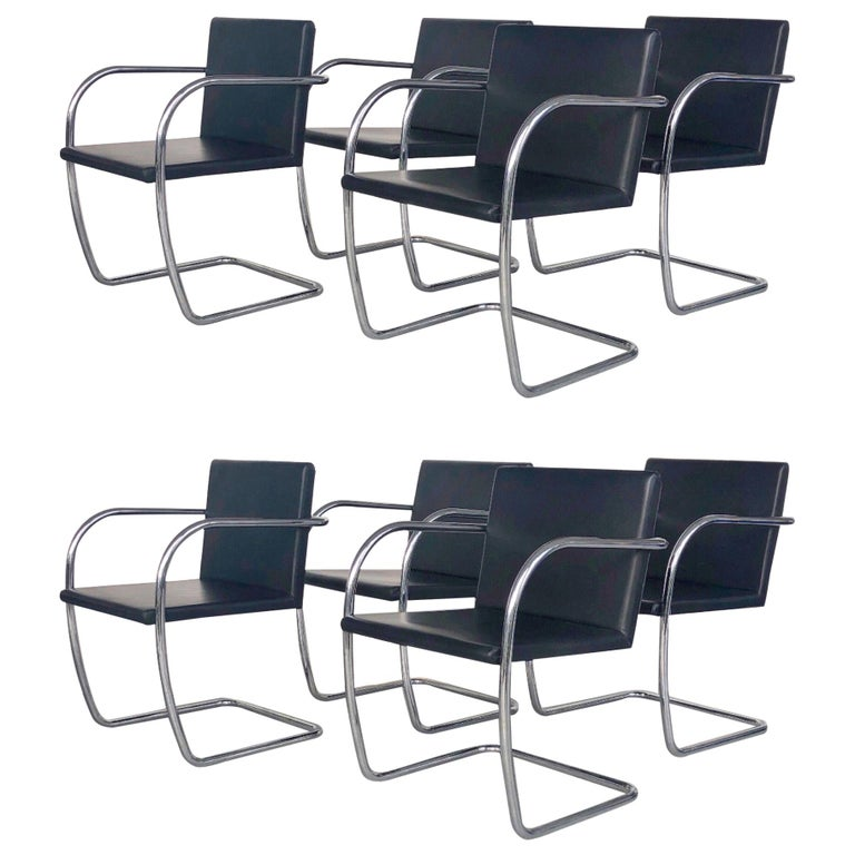 8 Brno Knoll Thin Pad Tubular Black Leather Chairs, 1970s For Sale