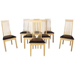 8 Calligaris Italian Modern Chicago Dining Chairs Maple Slat Back Alligator MCM