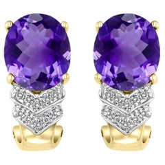 8 Carat Amethyst and Diamond 14 Karat Yellow Gold Earrings, Omega Back