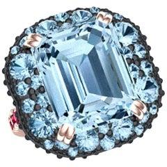 8 Carat Aquamarine Ruby Diamond Ring