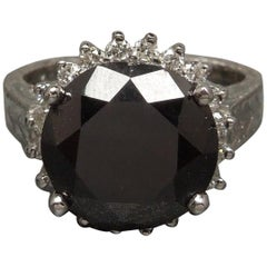 8 Carat Black Diamond Crown Halo Ring