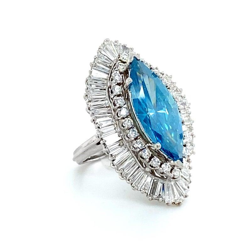 Round Cut 8 Carat Blue Diamond Ring