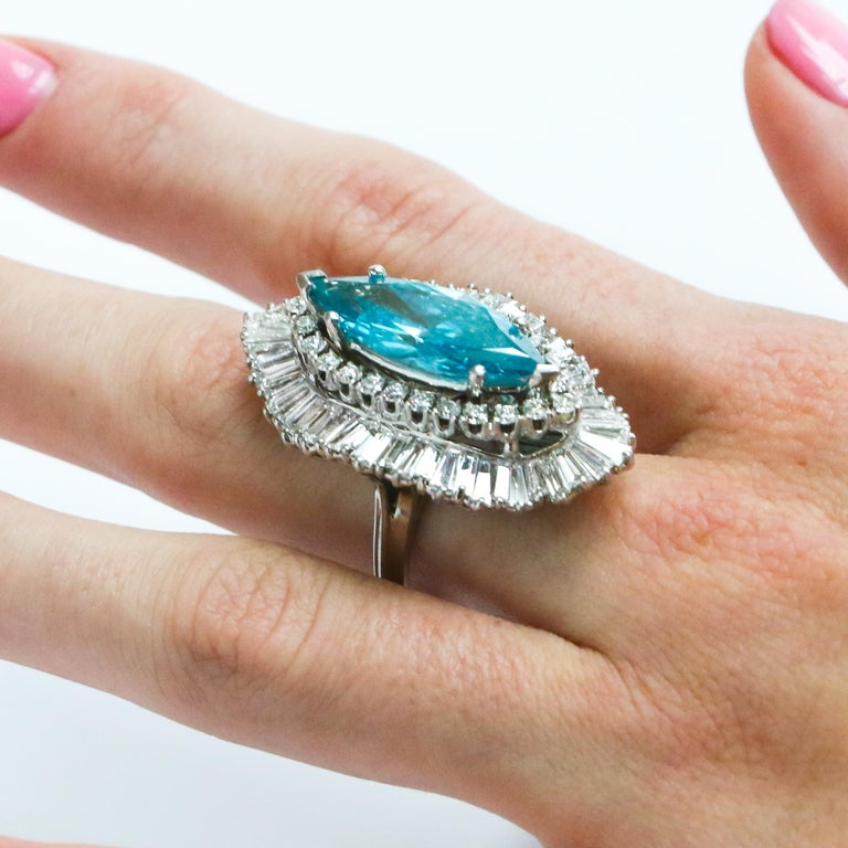 8 Carat Blue Diamond Ring In Excellent Condition In Carlsbad, CA