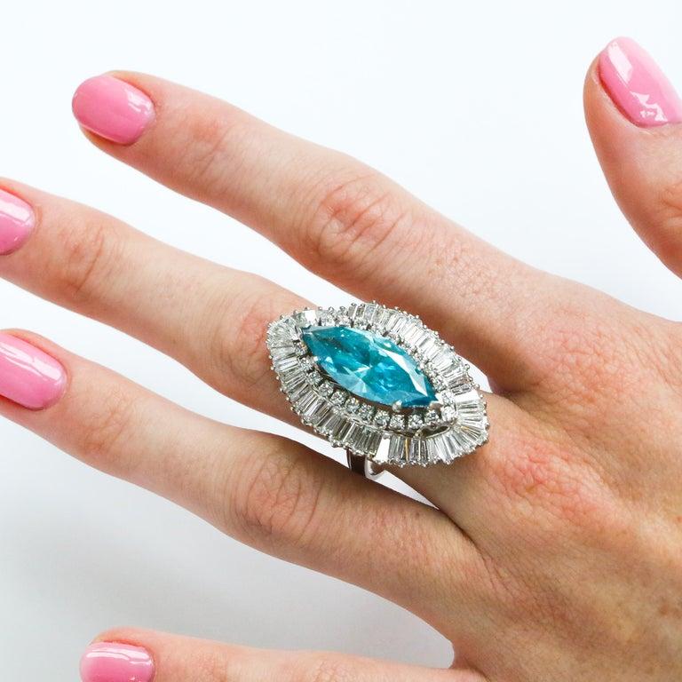 Men's 8 Carat Blue Diamond Ring