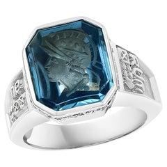 8 Carat Carved Natural Blue Topaz and Diamond Unisex Ring 18 Karat Gold, Estate