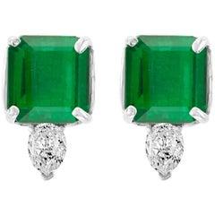 8 Carat Colombian Emerald Cut Emerald Diamond Stud Earrings 18 Karat Gold