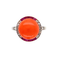 8 Carat Coral Diamond Ruby Platinum and Old Ring Estate Fine Jewelry