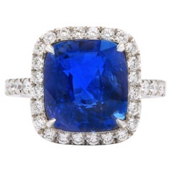 8 Carat Cushion Cut Ceylon Blue Sapphire and Diamond Ring
