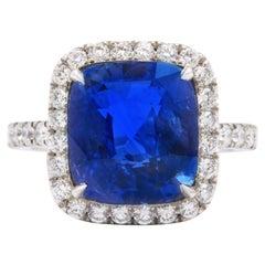 8 Carat Cushion Cut Ceylon Blue Sapphire and Diamond Ring