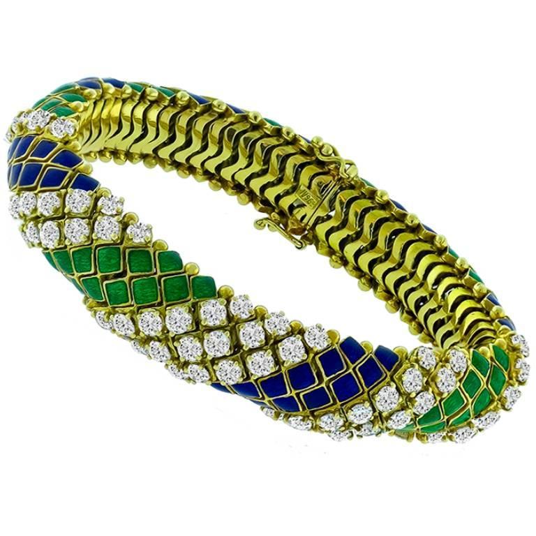 8 Carat Diamond Enamel 18 Karat Yellow Gold Bracelet