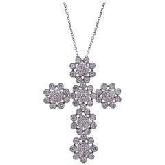 8 Carat Diamond Gold Cross Pendant Necklace
