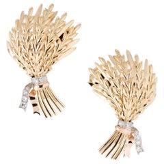 .8 Carat Diamond Tri-Color Gold Wheat Lever Back Post Earrings