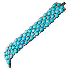 8 Carat Diamond Turquoise Bracelet