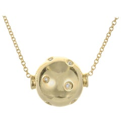 .8 Carat Diamond Yellow Gold Ball Pendant Necklace