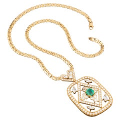 8 Carat Diamonds and 2 Carat Emerald Pendant Necklace