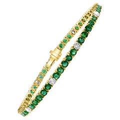 8 Carat Emerald and 2 Carat Diamond Tennis Bracelet 18 Karat Yellow Gold, 7 Inch