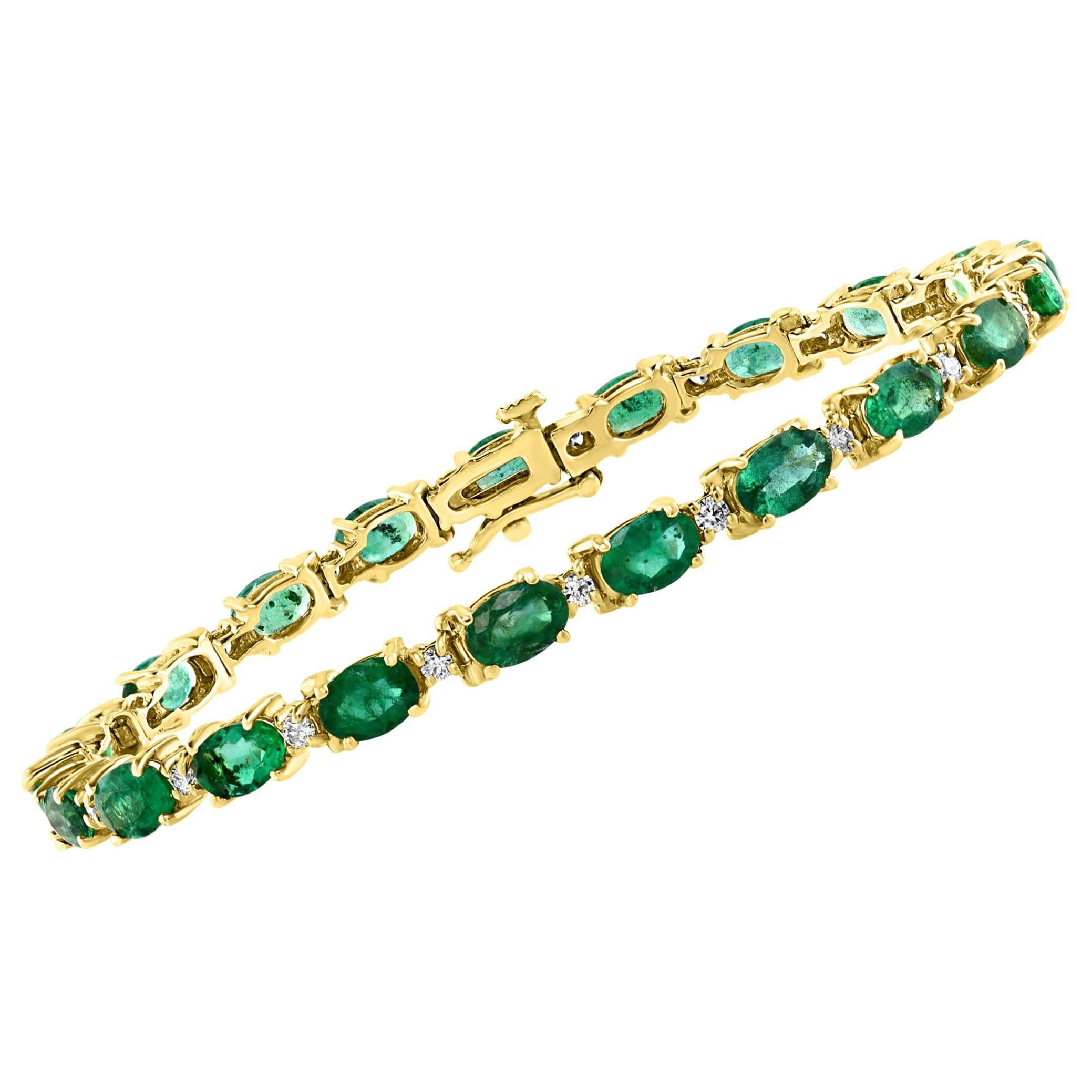 8 Carat Emerald and Diamond Tennis Bracelet 14 Karat Yellow Gold