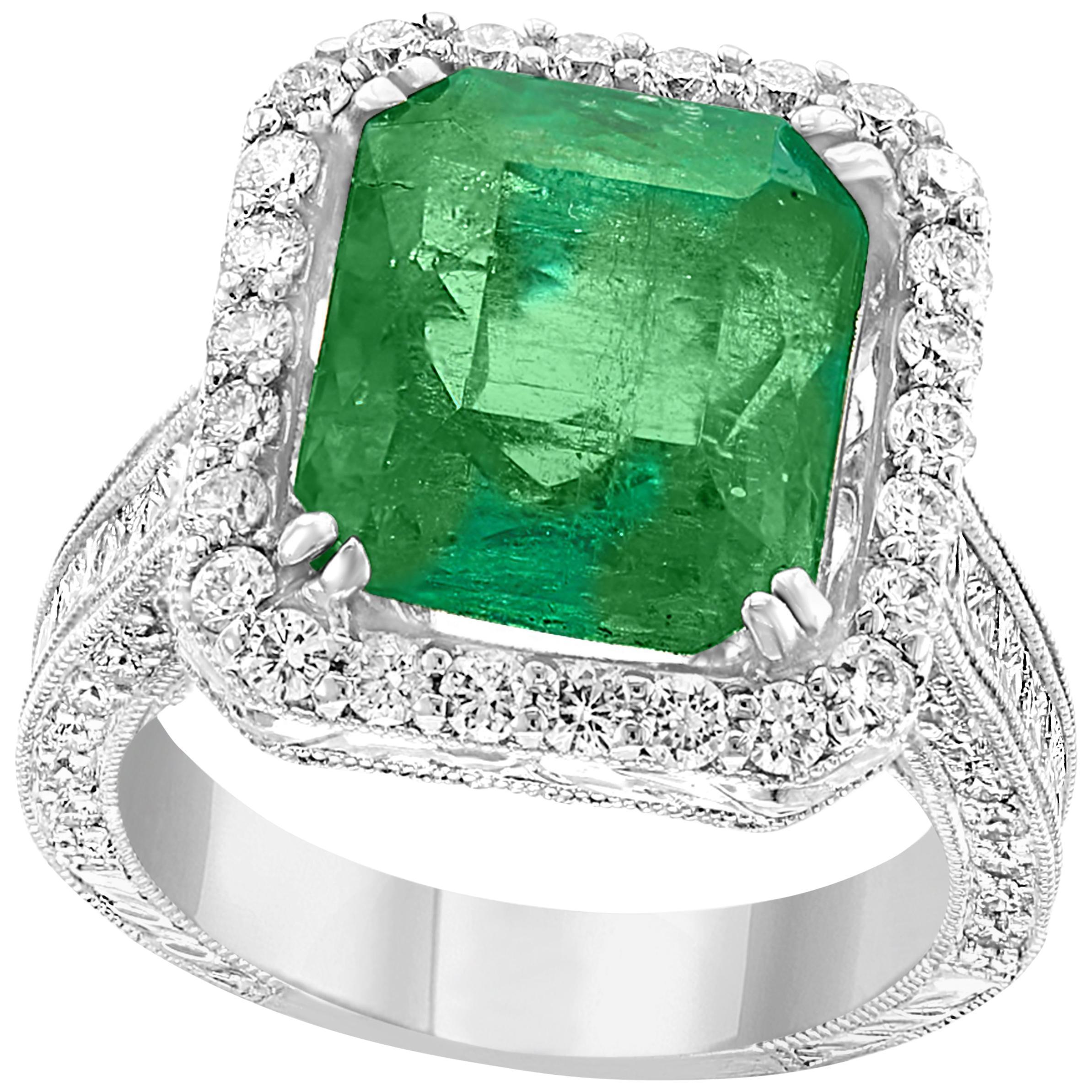 8 Carat Emerald Cut Colombian Emerald and Diamond 18 Karat Gold Ring Estate