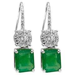 8 Carat Emerald Cut Emerald & Diamond Fish Hook Earrings 18 Karat White Gold