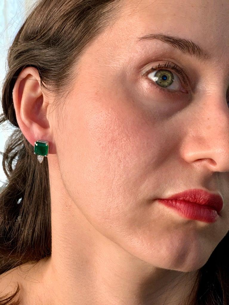 8 Carat Emerald Cut Emerald Diamond Stud Earrings 18 Karat Gold For Sale 6