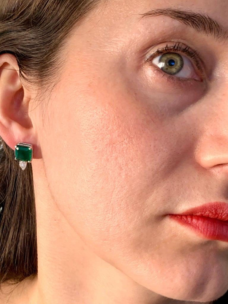 8 Carat Emerald Cut Emerald Diamond Stud Earrings 18 Karat Gold For Sale 7