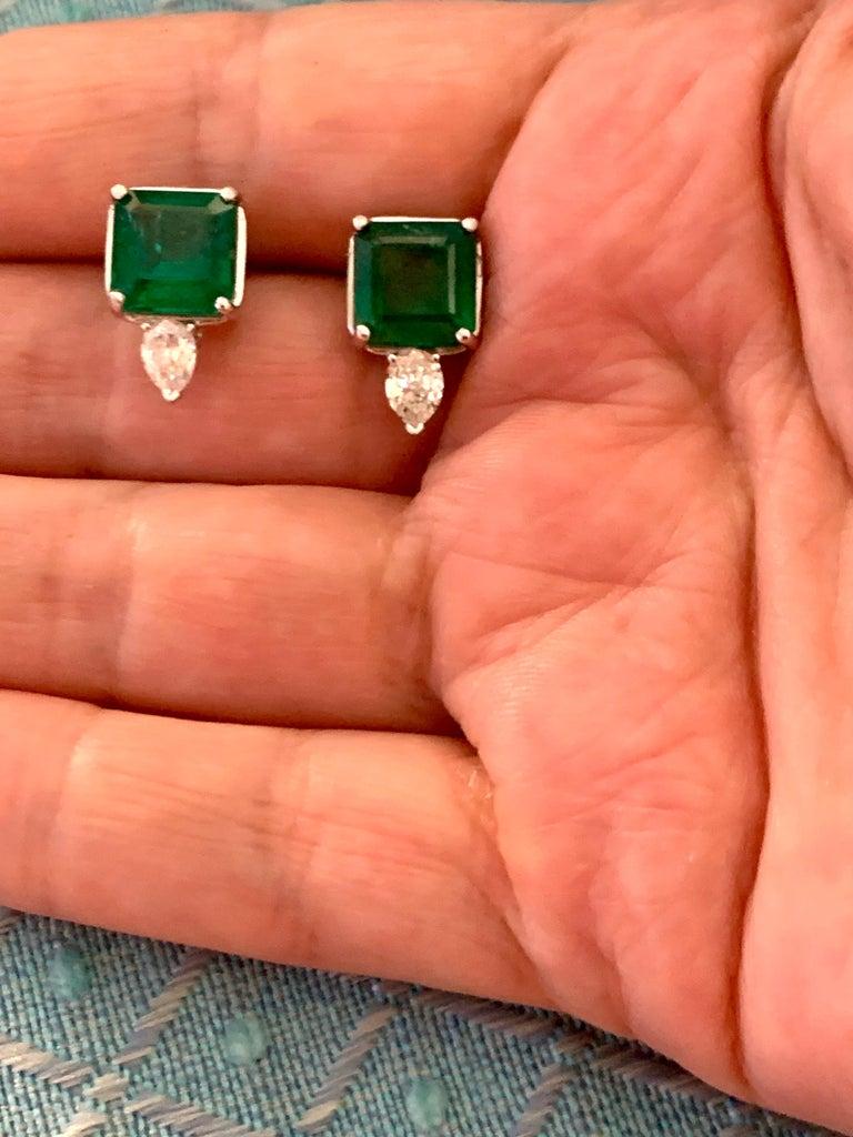 8 Carat Emerald Cut Emerald Diamond Stud Earrings 18 Karat Gold For Sale 8
