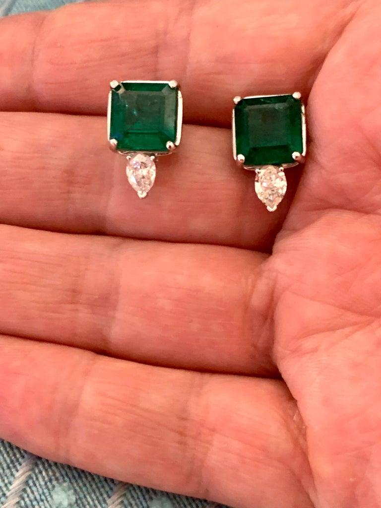 8 Carat Emerald Cut Emerald Diamond Stud Earrings 18 Karat Gold For Sale 9