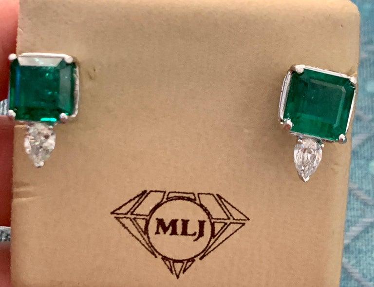 8 Carat Emerald Cut Emerald Diamond Stud Earrings 18 Karat Gold For Sale 10
